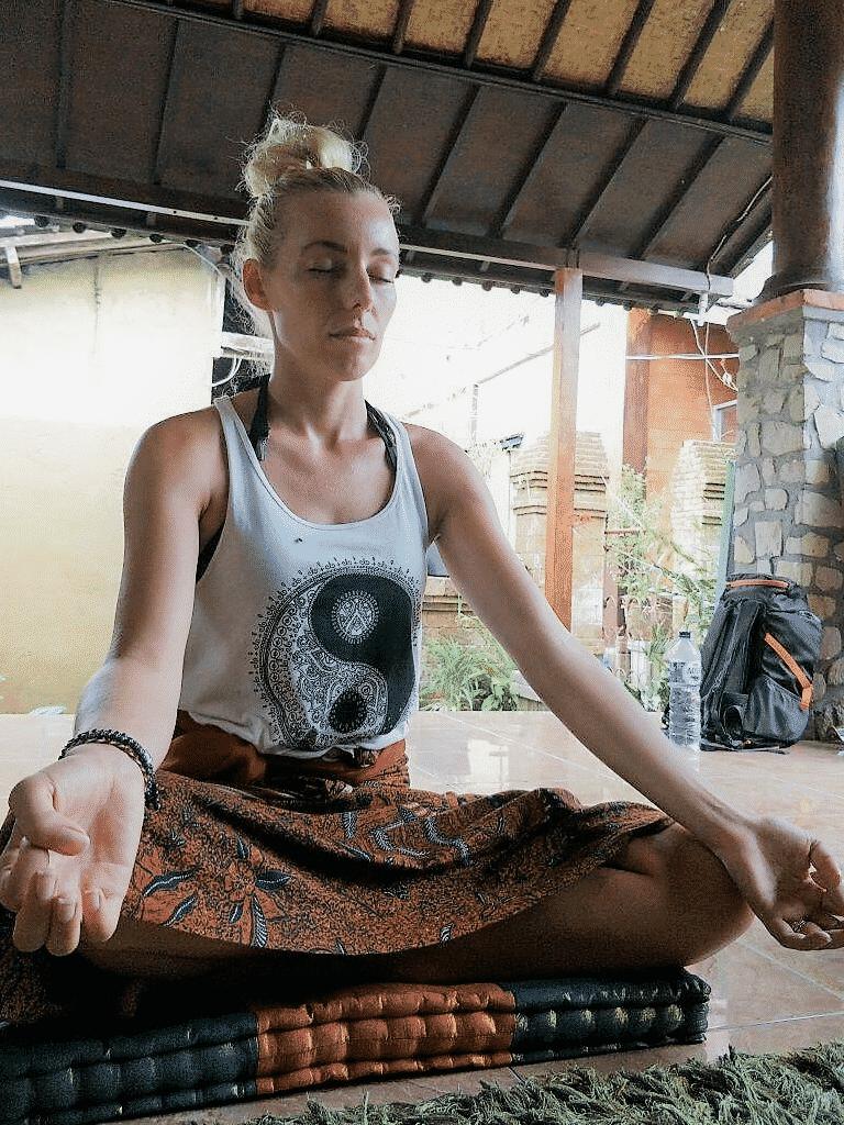 Meditating at Bali Indonesia